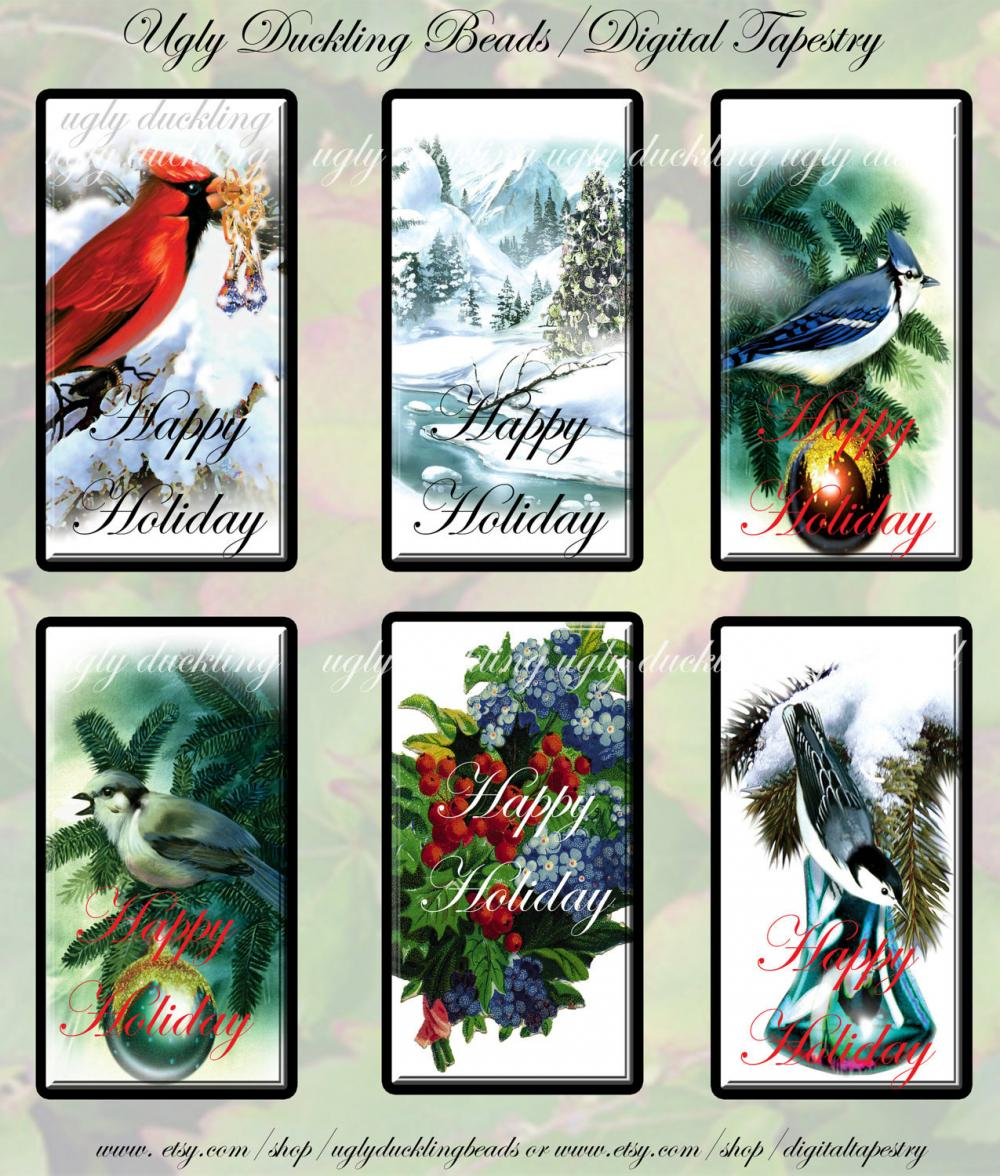 "Digital Images Collage Sheet - Clip Art Elements- Digital Scrapbooking- ""Happy Holiday"" Gift Tag"