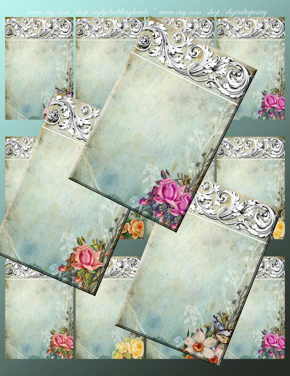 "Digital Collage Sheet - Clip Art Elements- Digital Scrapbooking-"" Ornamentaea"" Earring Cards"