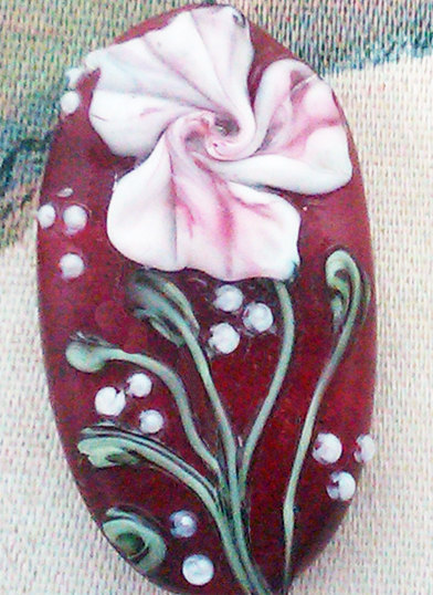 Lampwork Bead - Pendant Focal- &quot;Floral Couture&quot; Floral Bead SRA