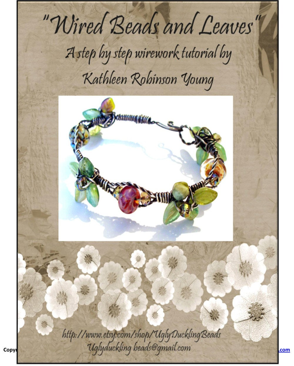 "Bracelet Tutorial - Wire Wrapped bracelet- ""Wired Beads and Leaves"" SRA"